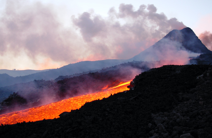 Photograph of lava flowing down Moutn Etna, Italy, in 2006