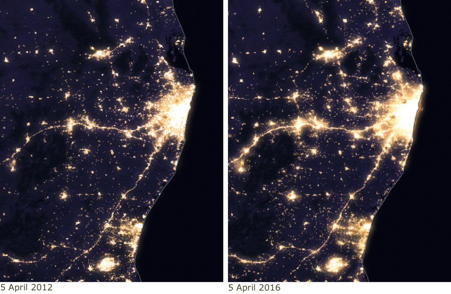 Comparison of nighttime lights in Chennai, India, in 2012 and 2016