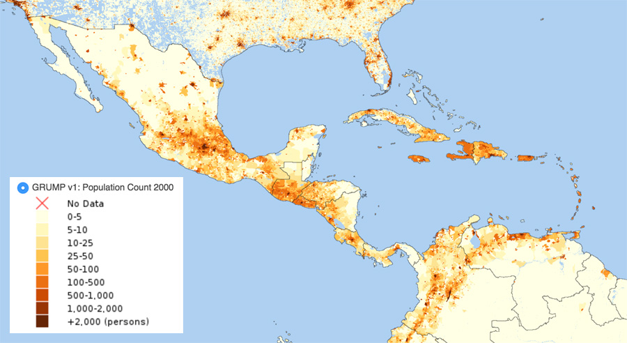 Map showing population data for North Latin American and the Caribbean