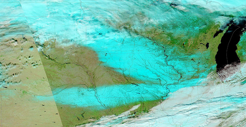 Snow in Iowa on 18 November 2018 (MODIS/Aqua)