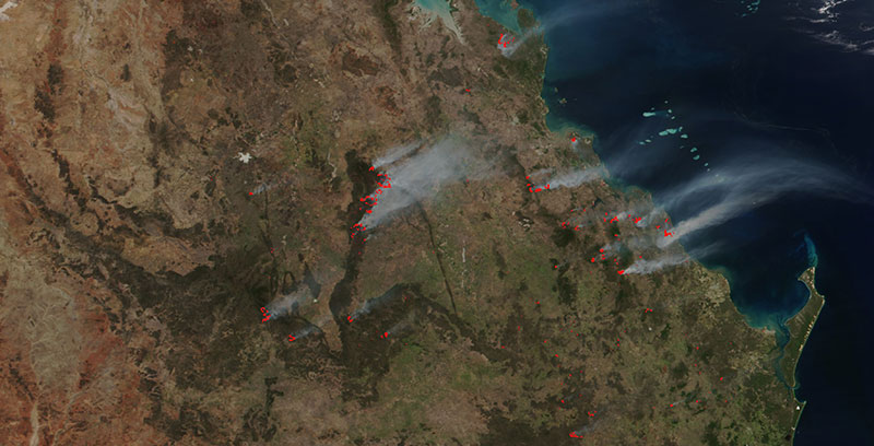 Fires in Queensland, Australia on 26 November 2018 (Suomi-NPP/VIIRS)