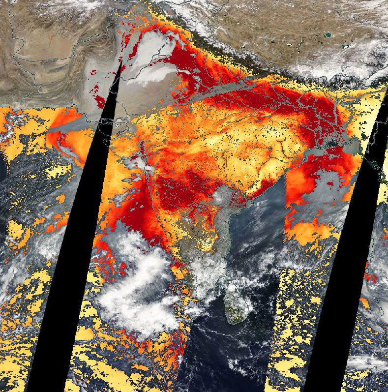 High Aerosol Optical Depth over Northern India on 24 December 2018 (MODIS/Terra)