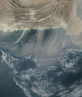 Dust blowing off the coast of Pakistan on 5 January 2019 (Suomi-NPP/VIIRS)
