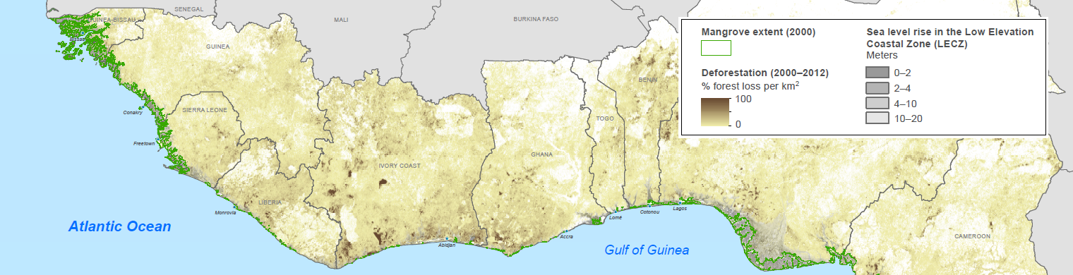 Map of Coastal West Africa mangrove areas and deforestation