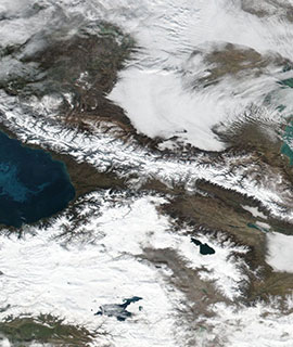 Snow in the Caucasus Mountains on 21 January 2019 (Suomi-NPP/VIIRS)