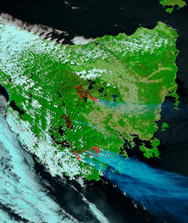 Fires in Tasmania on 28 January 2019 (Suomi-NPP/VIIRS)