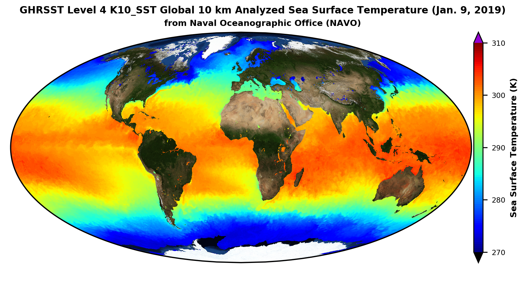Image of sea surfact temperature (SST) from the new GHRSST dataset at PO.DAAC.