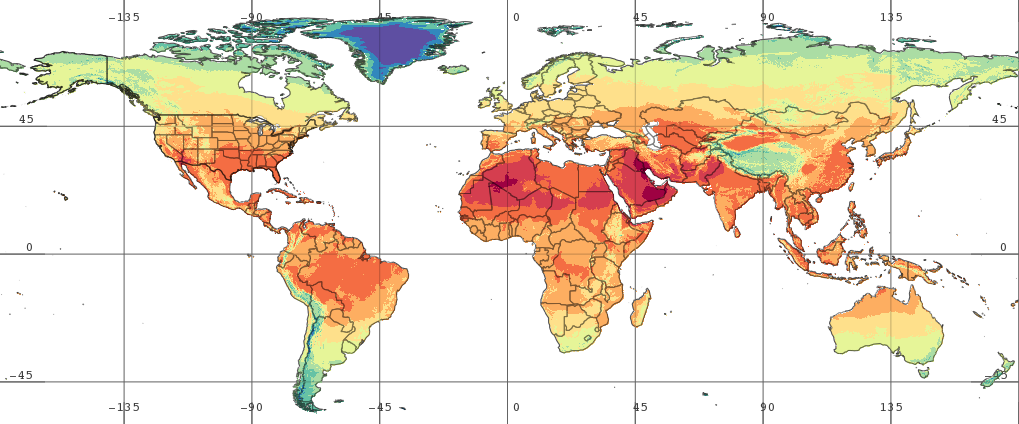 Sample image from new FLDAS monthly average surface temperature data set.