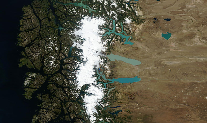 Los Glaciares National Park, Argentina on 4 February 2019 (Terra/MODIS)