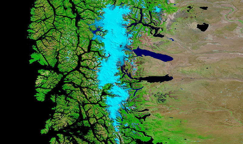 Los Glaciares National Park, Argentina on 4 February 2019 (Terra/MODIS Bands 7-2-1)