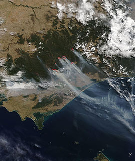Fires and smoke in New South Wales, Australia on 4 March 2019 (MODIS/Terra)