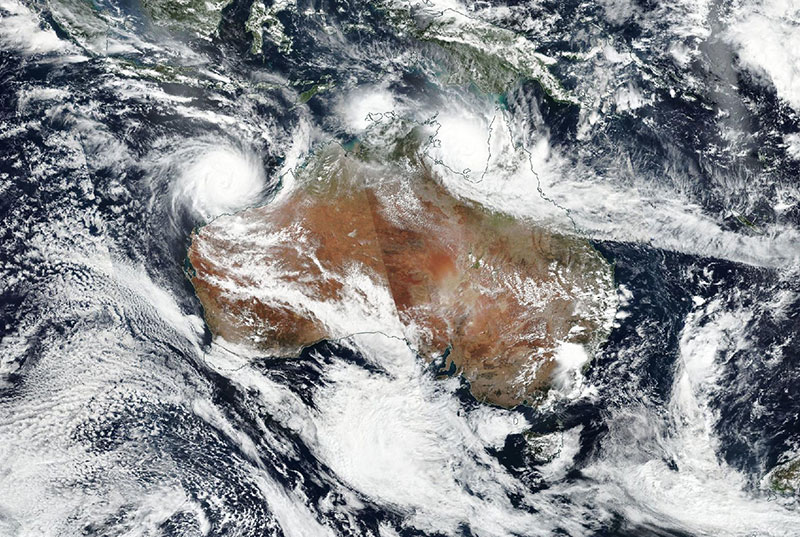 Tropical Cyclones Veronica and Trevor approaching Australia on 22 March 2019 (Suomi-NPP/VIIRS)
