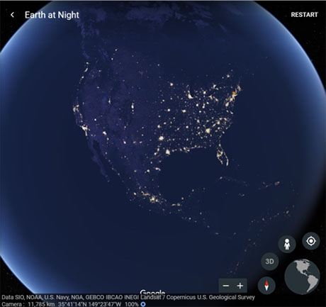 Earth at Night featuring NASA's Black Marble data.