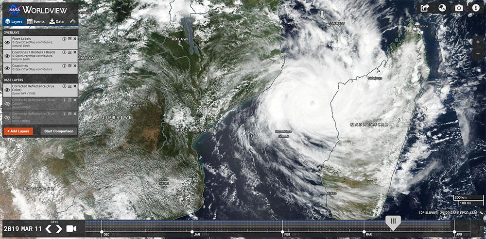Tropical Cyclone Idai on 11 March 2019 (Suomi-NPP/VIIRS)