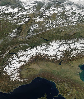 Snow in the Alps on 31 March 2019 (MODIS/Aqua)