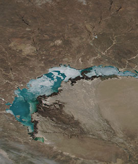 Lake Balkhash, Kazakhstan on 8 April 2019 (Suomi-NPP/VIIRS)