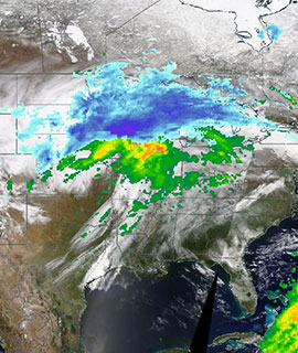 Spring time storm moves across the central US on 15 April 2019 (Terra/MODIS and IMERG Rain and Snow rates)