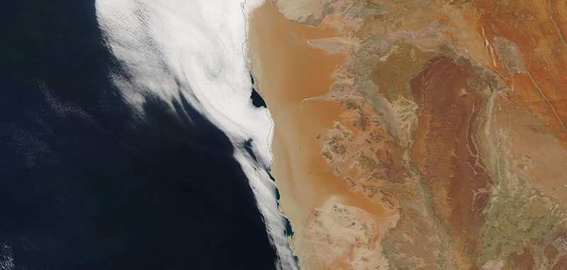 Namib Desert on 21 April 2019 (Terra/MODIS)