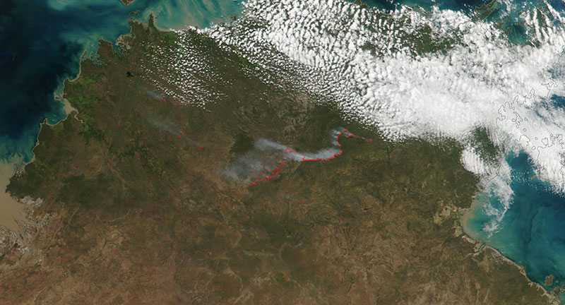 Fires in the Northern Territory, Australia on 6 May 2019 (Suomi-NPP/VIIRS)