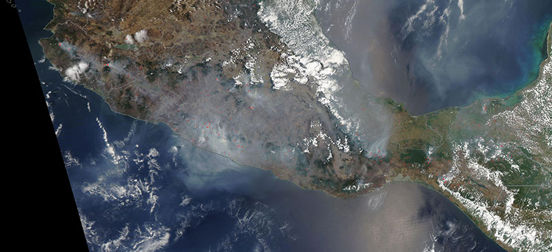 Fires in Southern Mexico on 12 May 2019 (MODIS/Aqua)