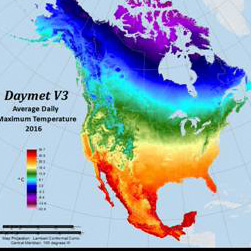 Map of the US showing average daily temps from DAYMET data.
