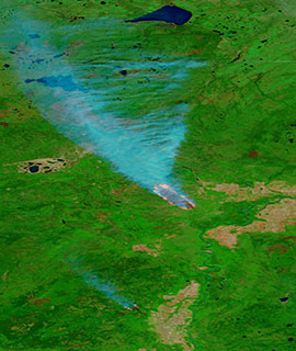 Wildfires in Alberta, Canada on 19 May 2019 (MODIS/Terra)