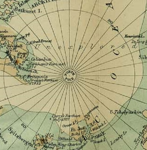 Map of polar research stations from 1885 showing large area labeled