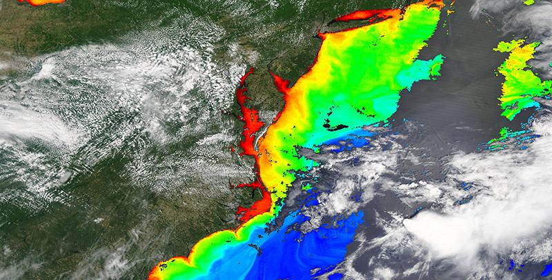 Chlorophyll a along the Mid-Atlantic coast, USA on 27 May 2019 (MODIS/Terra)