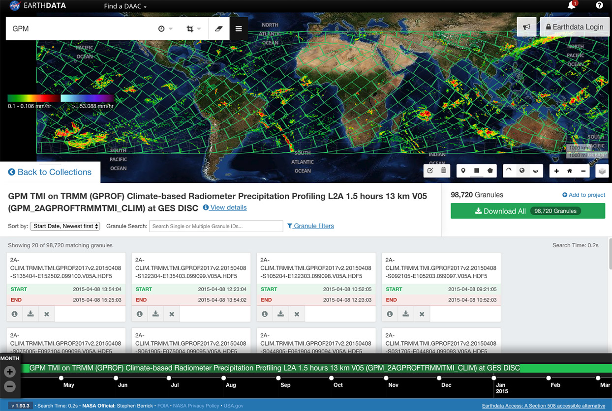 Screenshot of Earthdata Search showing worldwide daily accumulated precipitation.