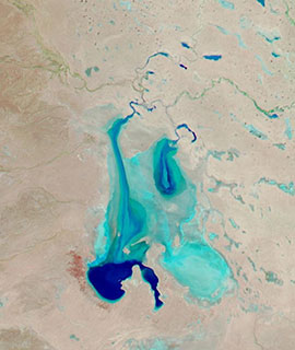 Kati Thanda/Lake Eyre filled with water on 2 June 2019 (Aqua/MODIS)