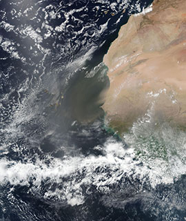 Dust off the coast of Mauritania and Senegal on 9 June 2019 (Suomi-NPP/VIIRS)