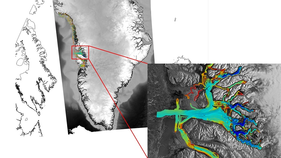 Sample OMG image showing ocean bathymetry off western Greenland.