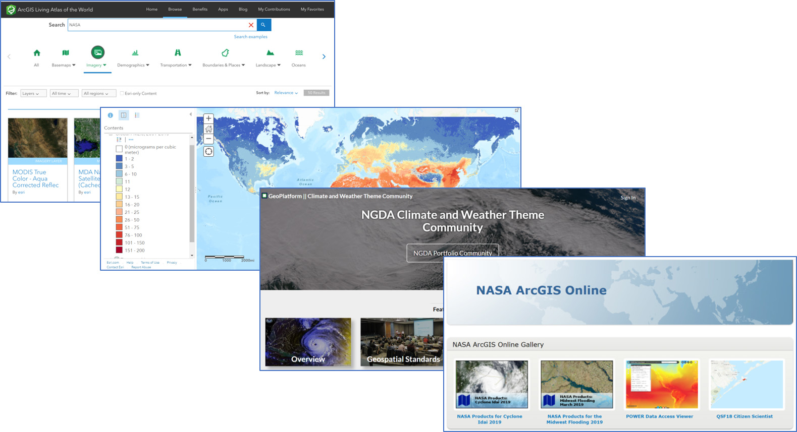 Screenshots of various GIS tools demonstrated in the webinar.