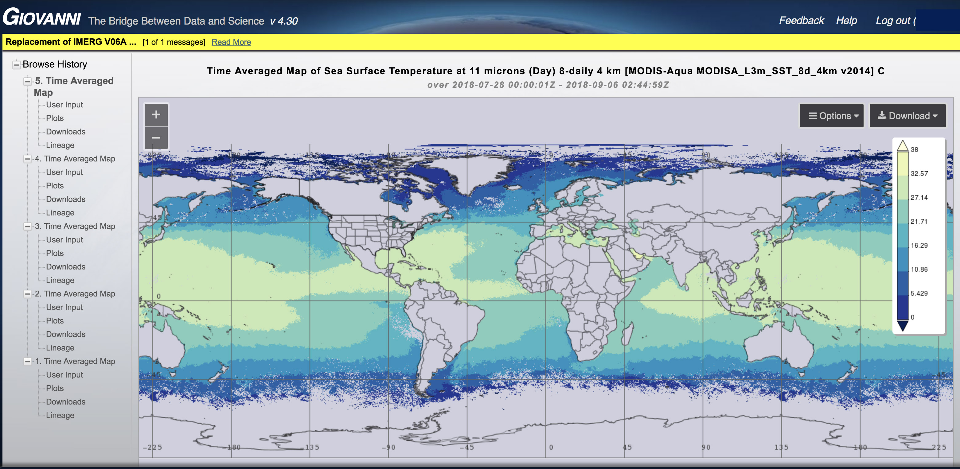 Screenshot of Giovanni showing time averaged sea surface temperature at 4km resolution.