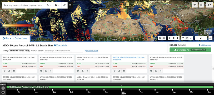 Screenshot of search.earthdata.nasa.gov showing MODIS/Aqua aerosol 5-Min L2 swath at 3km resolution.