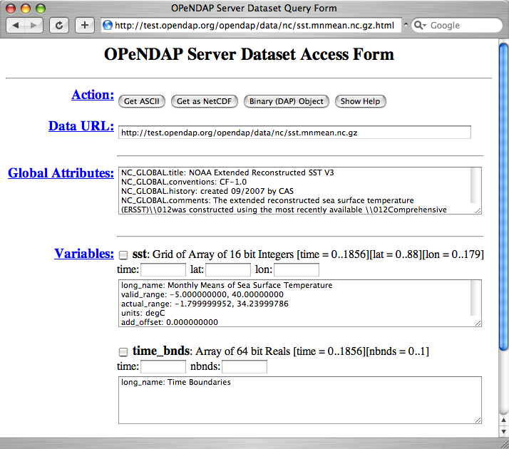 OPeNDAP API 1