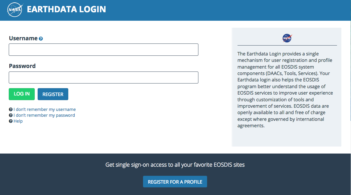 Earthdata Login API 1
