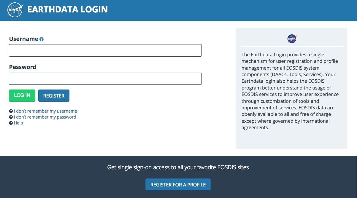 Earthdata Login API 1