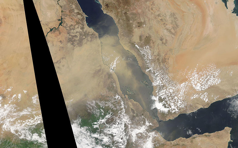 Dust blowing into the Red Sea on 30 June 2019 (Aqua/MODIS)