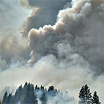 Photo of dense smoke from a wildland fire.