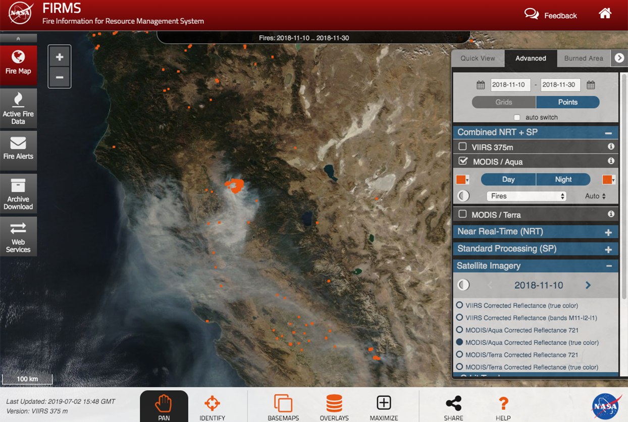 Screenshot of Fire Information for Resource Management System (FIRMS) showing wildfire in California.