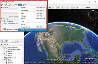 Screenshot from How to auto-refresh FIRMS KML in Google Earth Pro webinar.