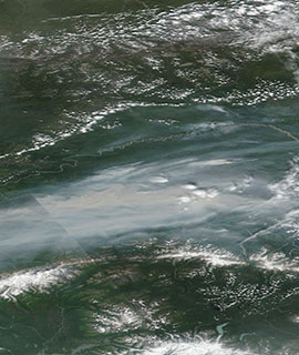 True color image of Fires in Alaska on 7 July 2019 (Suomi-NPP/VIIRS)