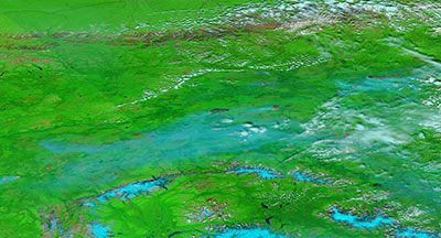 False color image of Fires in Alaska on 7 July 2019 (Suomi-NPP/VIIRS)