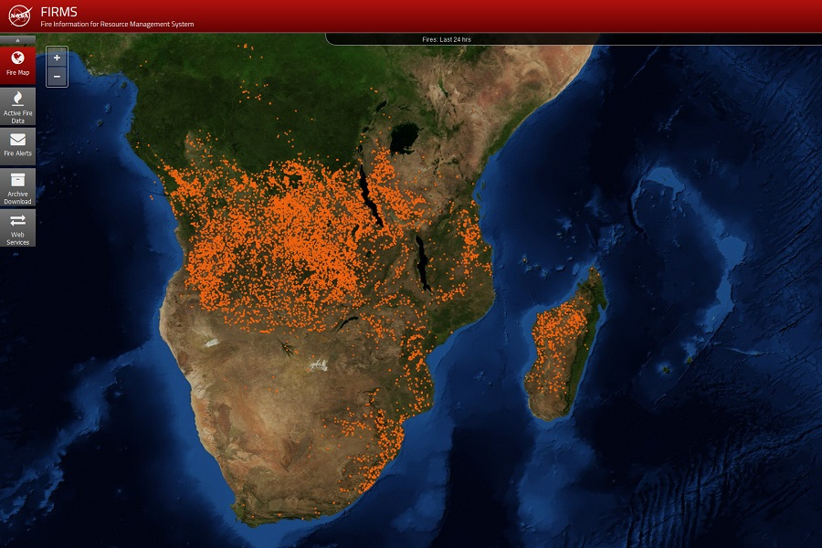 FIRMS image of Africa acquired July 8, 2019, showing hotspots detected by MODIS or VIIRS.