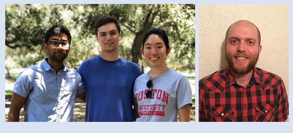 Two images showing interns supporting NASA's PO.DAAC. Left image has three interns; right image has image of single intern.