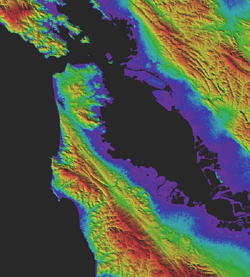Image from ASTER GDEM Version 3 showing shaded relief topography of San Francisco, with different heights shown in different colors.