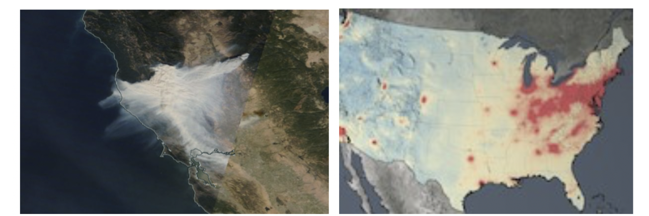 Particulate pollution can be measured qualitatively through visual imagery as with the Camp Fire smoke plume in the image on the left. Particulate matter and trace gases can be measured quantitatively through atmospheric column products, like the nitrogen dioxide data from the Aura Ozone Monitoring Instrument, in the image on the right.