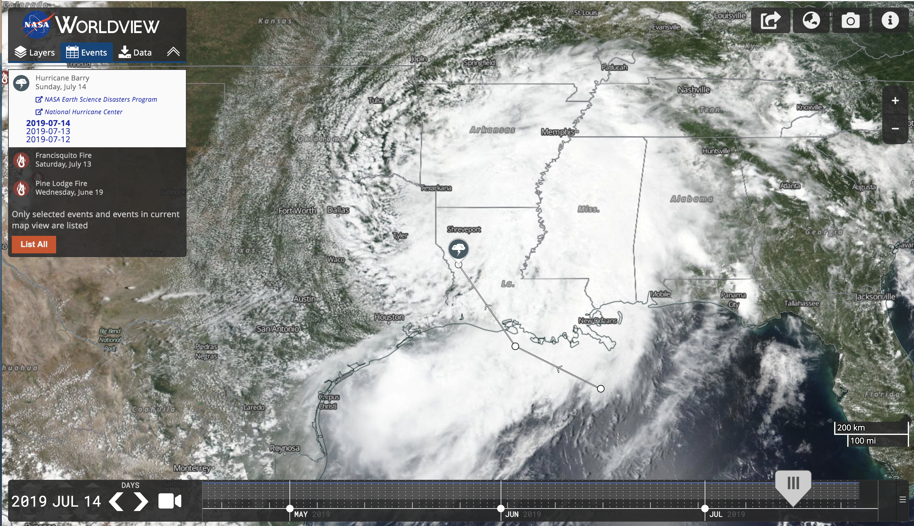 Worldview's Events tab provides information about events, such as tropical cyclones, wildfires, volcanic eruptions, and even large iceberg movement. Hurricane Barry, as shown in this image, traveled from the Gulf into Louisiana in July 2019.