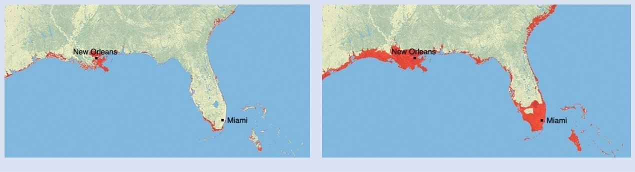 Two images of the U.S. Gulf Coast/Florida showing areas that could be inundated from partial melting of the Greenland ice sheet. Left image shows the effect of a one-meter rise in sea level, with areas around New Orleans and the extreme southern Florida coast being inundated. Right image shows the effect of a six-meter rise in sea level, with all of southern Louisiana (including New Orleans) and all of southern Florida (including Miami) inundated.